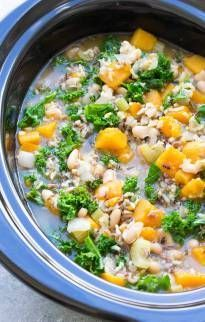 A hearty vegetarian (and vegan) soup made with wild rice, butternut squash, kale and white beans. Slow Cooker Wild Rice Vegetable Soup is a healthy favorite!