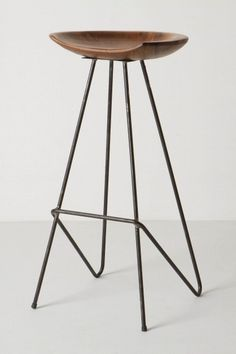 Wood and steel stool