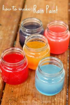Simple two ingredient recipe for making scented rain paint - Kids will love watching this paint mix as the rain falls!