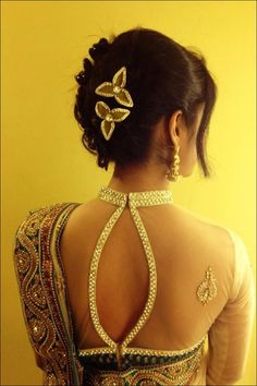 An OpenBack Choker Collar Bridal Saree Blouse blouse designs #sameepam.com sameepam matrimonial classified