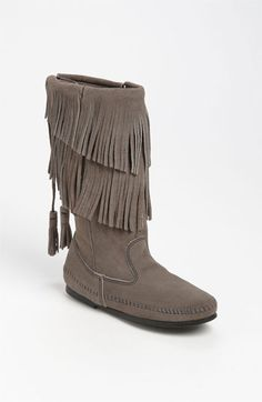 Minnetonka Two Layer Fringed Boot..kinda want a pair of these in brown or black