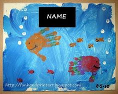 I would love to do a big project with all the boys' little hands as different sized fishies, and maybe decorate the rest with sequins and collage materials... Ahhh, my kind of craft! :)