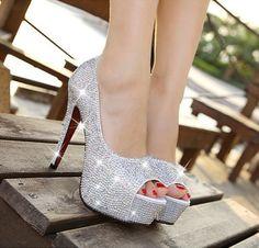 Ladies Platform Pump Open Toe High Heels Crystal Bridal Wedding Party Prom Shoes