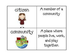 Here's a very cute set of social studies vocabulary cards covering citizenship… Student Teaching, Teaching Science, Social Science, Teaching Ideas, Teaching Resources, Preschool Social Studies, 3rd Grade Social Studies, Preschool Education, Primary Education