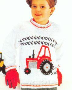 "Fun Tractor Motif Sweater Knitting Pattern DK 22"" -28"" | eBay"