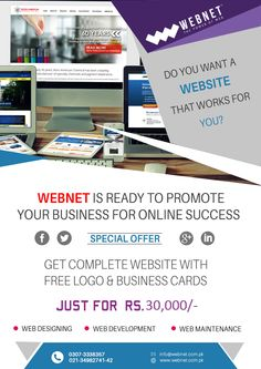 Get Complete Website with free logo and Business cards at rs.30,000 Contact us : 021- 34982741-42 www.webnet.com.pk info@webnet.com.pk