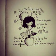 """#Spinetta ❤ """"Ella también se cansó de este SOL, viene a mojarse los pies a la LUNA. Cuando se CANSA de ya no QUERER, ella es tan CLARA que ya no es NINGUNA"""" Music Love, Music Is Life, Mantra, Lyric Drawings, Graphic Quotes, Sweet Quotes, Sad Love, More Than Words, Spanish Quotes"""