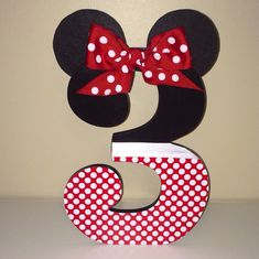 Custom Decorated Wooden Letters  Numbers  Minnie Mouse