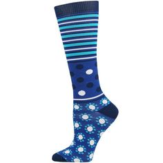 Abstract Dot and Stripe Fashion Compression Sock- X-Large - Think Medical™