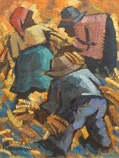 """Hennie Niemann (SA born Oil, """"Harvesters in the Morning"""" Art Pics, Art Pictures, 5th Avenue, Painters, Abstract Art, African, Oil, Artist, Expressionism"""