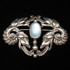 Moonstone Sterling Silver Brooch Pin Vintage Walter Lampl Scroll Design | eBay