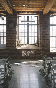 industrial boho chic wedding ceremony ideas Talking about wedding trends in industrial style is everywhere now and we'll see it more next year. Getting married in industrial venues is contrasting,. Wedding Ceremony Ideas, Wedding Signage, Wedding Trends, Wedding Receptions, Seattle Wedding Venues, Georgia Wedding Venues, Reception Decorations, Wedding Centerpieces, Wedding Favors