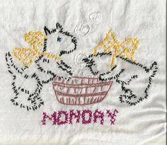 "Vintage Scottie Dog TOWELS  Set of 7 ""Days of the Week""  Daily Chores  Tea Towels  Cup Towels  Kitchen Towels Hand Embroidery  Cross Stitch by raegirl on Etsy"