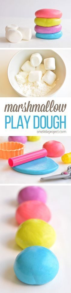 Edible Marshmallow Play Dough is part of Creative crafts For Preschool - This marshmallow play dough is SO MUCH FUN and it has to be the easiest play dough recipe we've ever made! And best of all, it's completely safe to eat! Projects For Kids, Diy For Kids, Crafts For Kids, Toddler Fun, Toddler Crafts, Craft Activities, Toddler Activities, Play Activity, Toddler Learning