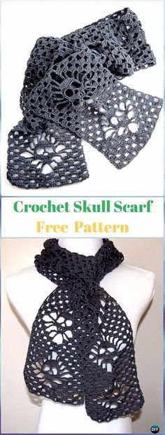 Narrow Crochet Skull Scarf Free Pattern - C,rochet Skull Ideas Free Patterns Crochet Scarves, Crochet Shawl, Crochet Clothes, Crochet Stitches, Crochet Vests, Crochet Cape, Crochet Edgings, Knitted Shawls, Crochet Motif