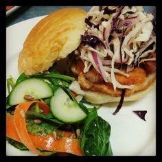 This week's burger - Homemade 8oz Chicken Burger with Bacon, Coleslaw, Sambal Mayo and a Mixed Green Salad