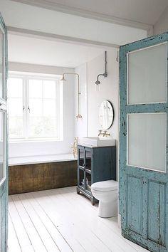 white painted bathroom floors