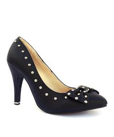 Look at this #zulilyfind! Black Zoey Studded Bow Pump by Ssh-oes #zulilyfinds