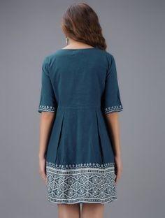 Blue Block-printed Pleated Cotton Dress