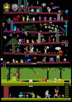 Video And Arcade Games Created by Judan A mashup of over 50 games from the from a variety of systems. How many games do you recognize? Vintage Video Games, Classic Video Games, Retro Video Games, Video Game Art, Retro Games, Vintage Games, Retro Vintage, Arcade Retro, Gamer T-shirt