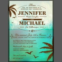 Shop Tropical Beach Wedding Reception Only Invitations created by oddlotpaperie. Indoor Wedding, Home Wedding, Wedding Tips, Diy Wedding, Spring Wedding, Dream Wedding, Reception Only Wedding Invitations, Beach Wedding Reception, Honeymoon Vacations