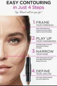 Easy Contouring, Contouring For Beginners, Makeup Tutorial For Beginners, Contouring And Highlighting, Makeup Tips Contouring, Foundation Contouring, Makeup Foundation, Highlighter Makeup, Contour Makeup