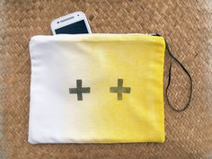 Zip pouch Cross French antique  linenwhite and by FrenchMelody