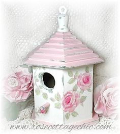 Shabby Cottage Birdhouse ~ HP Pink Roses!