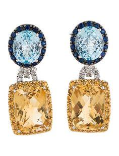 Blue Topaz, Citrine, Sapphire and Diamond Earrings