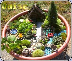 A beautifully detailed fairy garden!