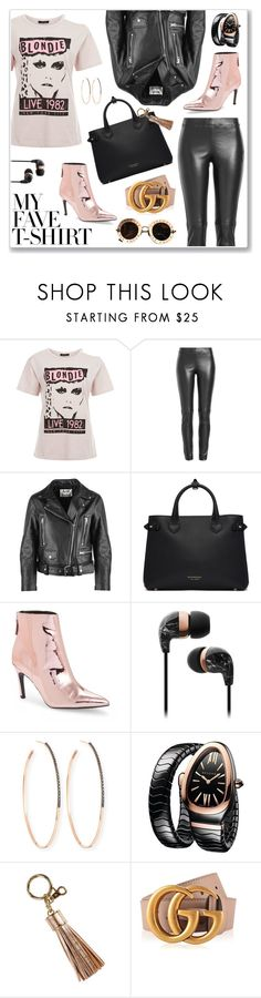 """""""Tee"""" by hellodollface ❤ liked on Polyvore featuring Joseph, Acne Studios, Burberry, Topshop, Lana, Bulgari, Gucci and MyFaveTshirt"""