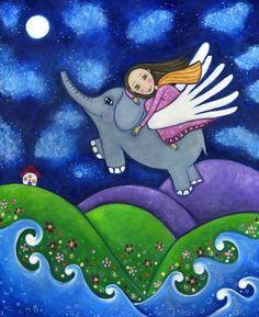 Flying Elephant Art print Nursery Childrens girl wall decor Whimsical folk picture - 'Stargazers'. $20.00, via Etsy.