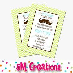 Chevron LITTLE MAN Mustache Printable Invitation - MUSTACHE Birthday Party Invite - 10.00 etsy (colors for B's birthday)
