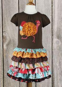 Thanksgiving ruffles toddler girls t-shirt dress by mackandlilypatterns.  Run turkey...run!!