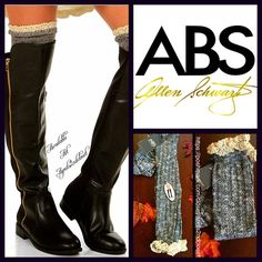 ABS Tall Boot Socks Crochet Trim Knee Highs ABS Tall Knee High Boot Socks-   * Super soft fabric w/crochet lace trim detail.  * To the high knee length on most.  * Stretch-to-fit style; Allover texture. Tagged one size fits most, shoe size 4-10. Fabric: 98% Polyester & 2% Spandex Color: Black combo 121900 ***The texture on each pair may vary slightly.  No Trades ✅ Bundle Discounts✅ ABS Allen Schwartz Accessories Hosiery & Socks