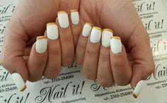 #white_french_nails_gelnails_gold #nail_it #thessaloniki