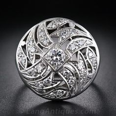 Large Round Art Deco Cocktail Ring - 10-1-5196 - Lang Antiques