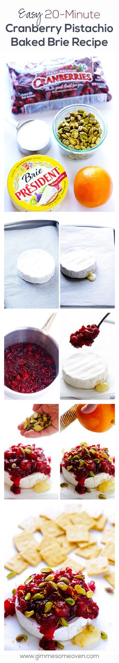 Fancy schmancy without the fuss! Easy Cranberry Pistachio Baked Brie | gimmesomeoven.com #appetizer (Fall Bake Brie)