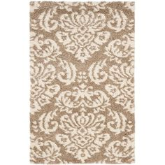 Florida Shag Beige/Cream (Beige/Ivory) 5 ft. 3 in. x 7 ft. 6 in. Area Rug