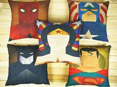 ON SALE  Vintage old super hero Superman American captain spider man, Batman cushion and pillow by acsoul on Etsy