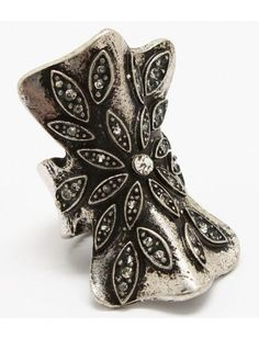 BURNT SILVER CRYSTAL BOW VINTAGE STYLE STRETCH RING - View All Rings - Rings - Jewellery