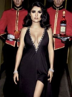 Fabulous #SalmaHayek in the sexy #Campari Red Passion spot (2007). Which man would not drink with her??? P.S: ...and yes, this is a modest picture from the campaign.