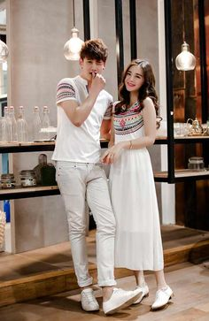 c5a0dcefcc Cute Korean couple clothing white with horizontal lines Couple Outfits, Couple  Clothes, Cute Korean