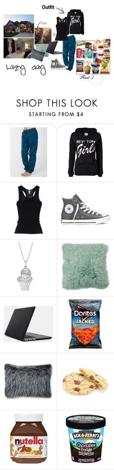"""""""Sweatpants, hair tied, chillin' with no makeup on, that's when you're the prettiest i hope that you don't take it wrong"""" by shadysqueen ❤ liked on Polyvore featuring American Apparel, Zoe Karssen, Home Source International, Converse, Speck, Ethan Allen, Salsa and bedroom"""
