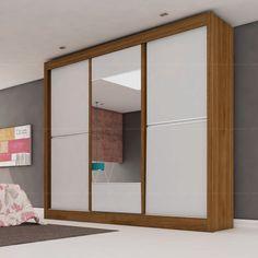 Guarda-roupa Ipê 3 Portas de Correr com Espelho 100% MDF Flex Color Reversível Nogueira/Branco/Nogueira - Móveis Europa | Lojas KD