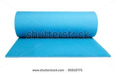 yoga mat isolated on white - stock photo