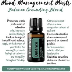Balance - Grounding Blend Spotlight on Mood Management oils For more info pm me. Easy! #oilswithfrance #doterra #moodmanagement #citrusbliss #balance #lavenderpeace #serenity #elevation #livehappy #chemicalfree #essentialoil #essentialoils #joinmyteam #workwithme #mompreneur #mumpreneur #moodmanagementmusts