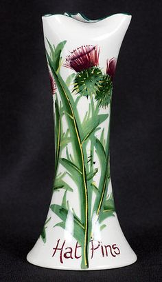 RARE Antique Wemyss Thistle Pattern hatpin Holder Early 20th C | eBay