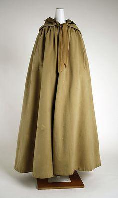Cloak Date: 1830s Culture: American Medium: wool, silk Dimensions: Length at CB: 48 1/2 in. (123.2 cm)