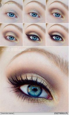 Just a beautiful example of using makeup to make your features stand out (her eye color) not disappear